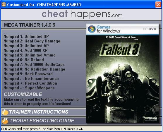 Скачать трейнер для fallout 3